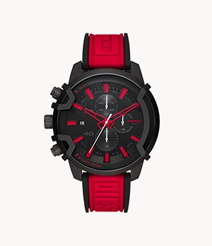 Diesel Griffed Chronograph Red Silicone Watch