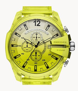 Diesel Mega Chief Chronograph Yellow Polyurethane Watch
