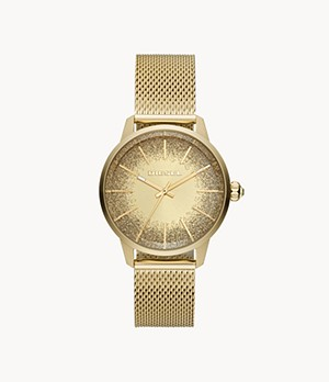 Diesel Women's Castilia Three-Hand Gold-Tone Stainless Steel Watch