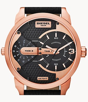 Diesel Men's Mini Daddy Three-Hand Rose Gold-Tone and Black Leather Watch