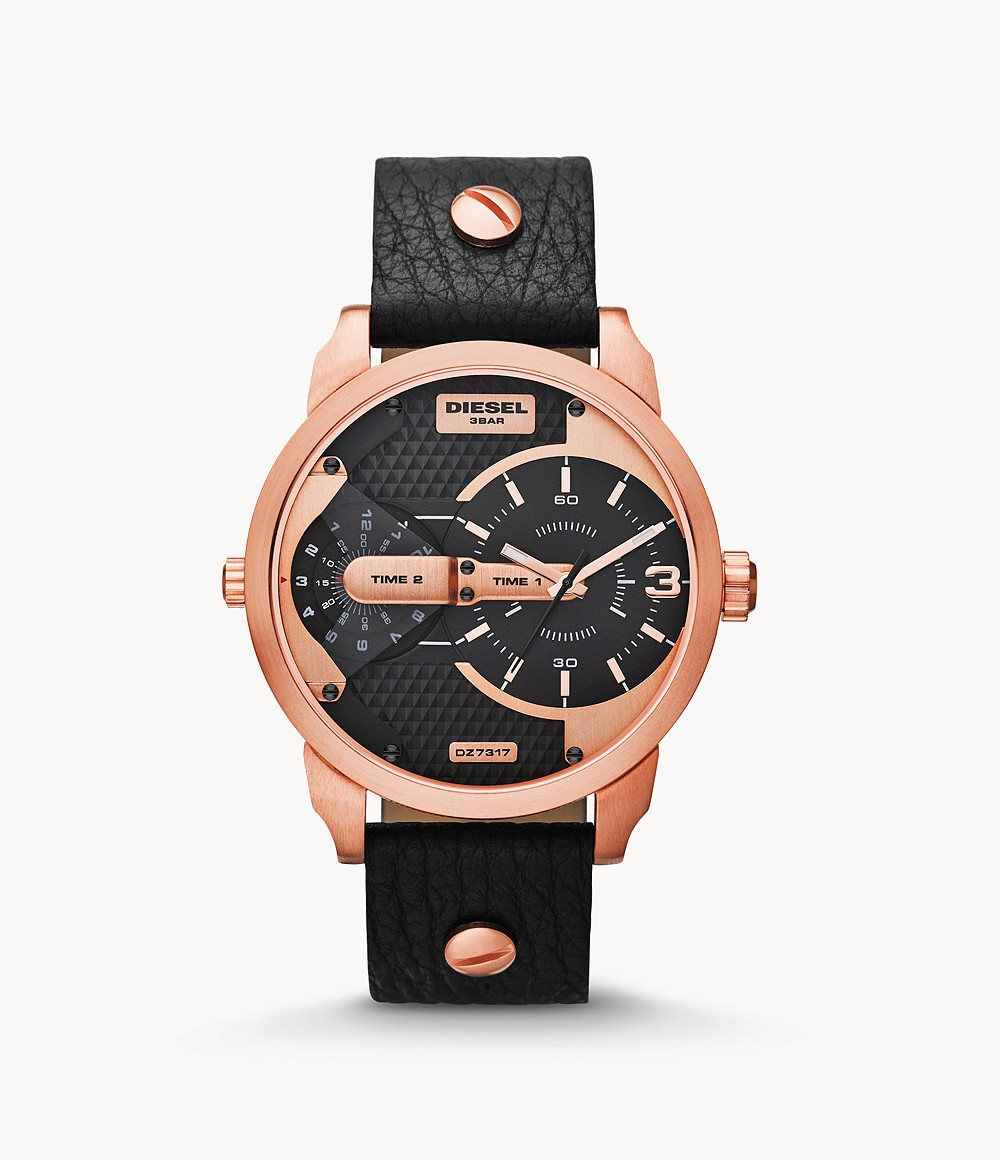 Diesel Men S Mini Daddy Three Hand Rose Gold Tone And Black Leather Watch Dz7317 Watch Station