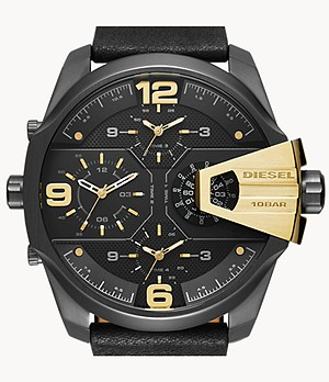 Diesel Men's Uber Chief Two-Hand Black Leather Watch