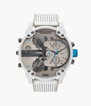Diesel Men's Mr. Daddy 2.0 Chronograph White and Gray Leather Watch