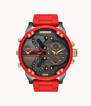 Diesel Mr. Daddy 2.0 Chronograph Red Stainless Steel and Silicone Watch