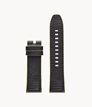 Diesel On Men's Black and Yellow Leather Strap