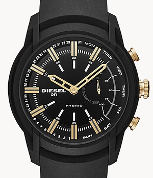 Diesel On Men's Armbar Black Silicone Hybrid Smartwatch