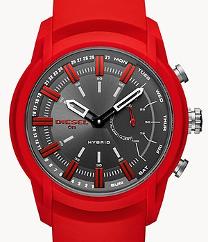 Diesel On Men's Armbar Red Silicone Hybrid Smartwatch