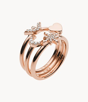 Emporio Armani Women's Rose Gold-Tone Sterling Silver Stack Ring Set