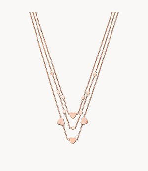 Emporio Armani Women's Rose Gold-Tone Sterling Silver Multi-Strand Disc Necklace