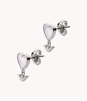 Emporio Armani Sterling Silver Heart Stud Earrings