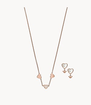 Emporio Armani Rose Gold-Tone Sterling Silver Necklace and Earring Gift Set