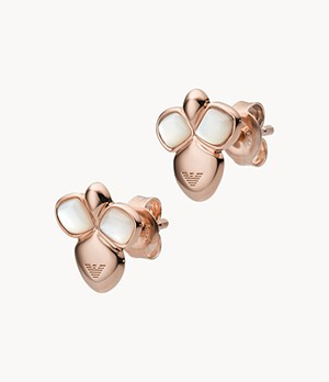 Emporio Armani Rose Gold-Tone Sterling Silver Stud Earrings