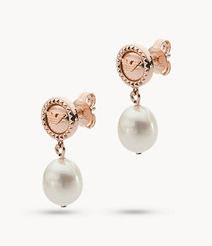 Emporio Armani Rose Gold-Tone Sterling Silver Drop Earrings
