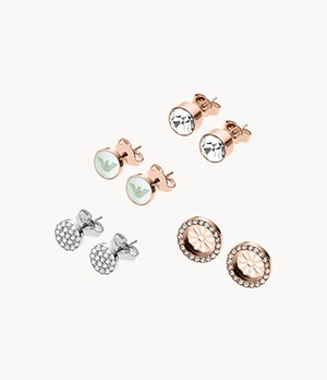 Emporio Armani Women's Rose Gold-Tone and Silver Stainless Steel Earring Set