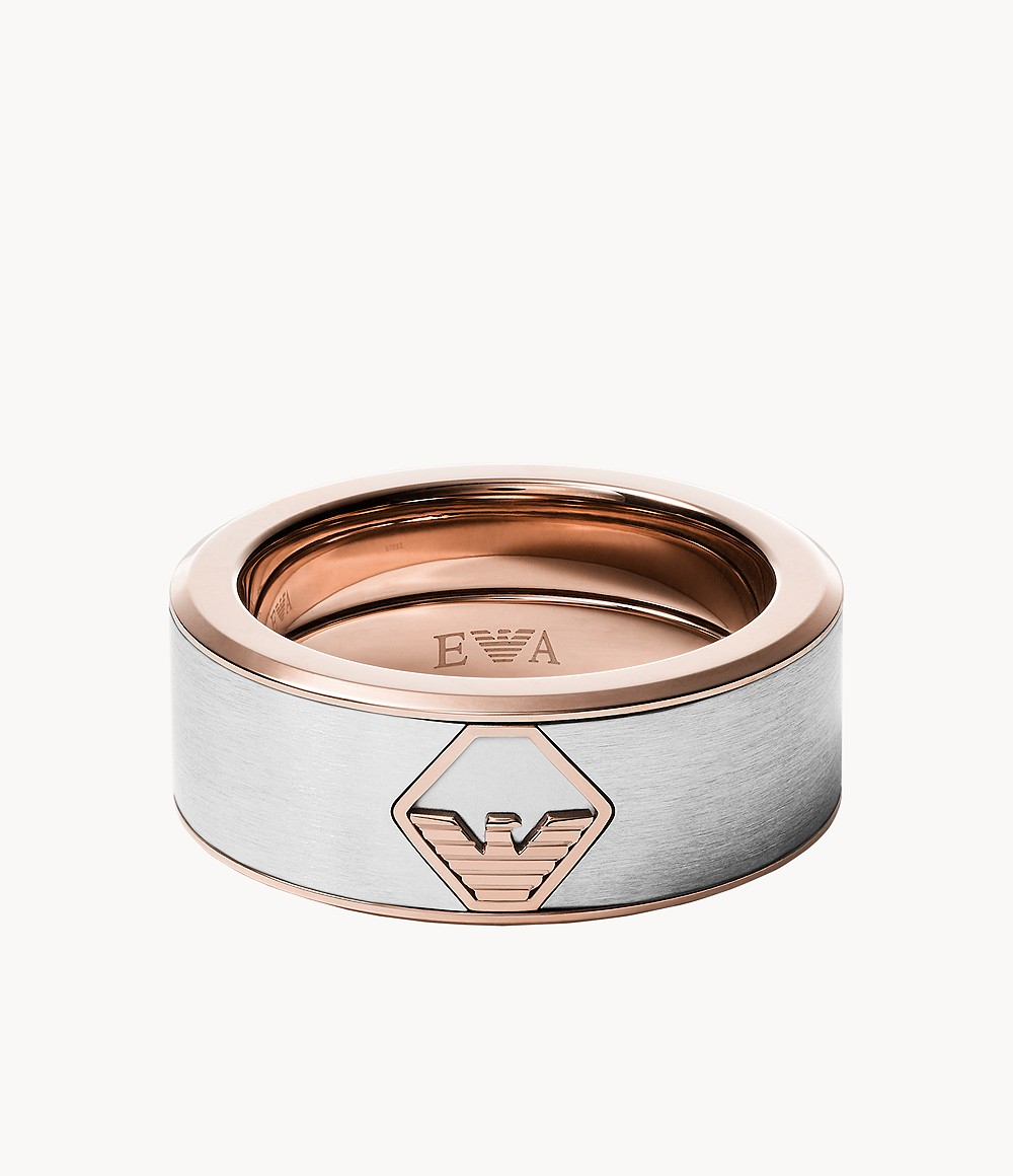 Details about  /INOX 316L Two-Tone IP Stainless Steel Weave Center Inlay Men/'s Band Ring