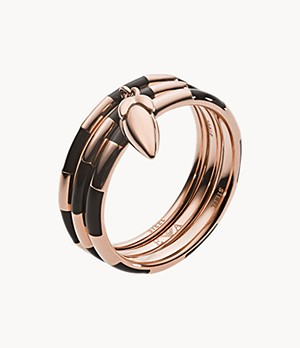 Emporio Armani Women's Black and Rose Gold Striped Stack Rings
