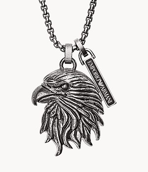 Emporio Armani Men's Eagle Head Stainless Steel Dog Tag Necklace