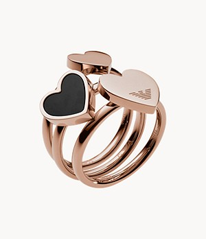 Emporio Armani Heart Rose Gold-Tone Stainless Steel Stackable Rings