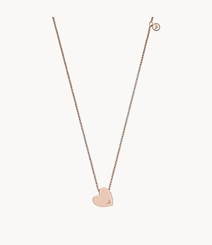 Emporio Armani Heart Rose Gold-Tone Stainless Steel Pendant Necklace