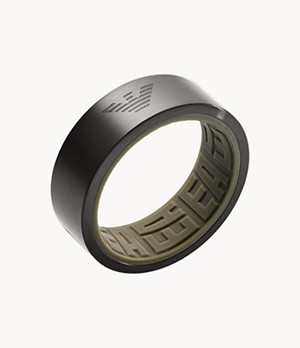 Emporio Armani Black Stainless Steel Ring