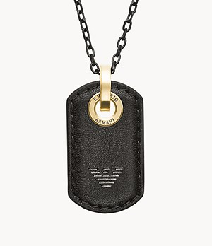Emporio Armani Gunmetal Stainless Steel Dog Tag Necklace