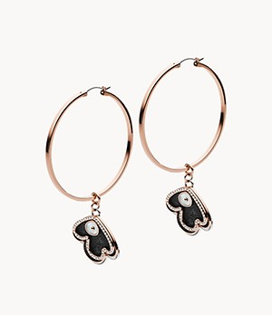 Emporio Armani Rose Gold-Tone Steel Hoops