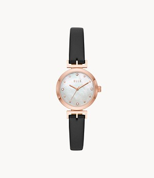 ELLE Odéon Three-Hand Black Leather Watch