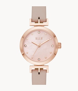ELLE Odéon Three-Hand Pink Leather Watch