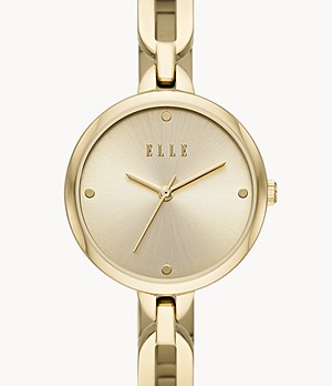 ELLE Wagram Three-Hand Gold-Tone Stainless Steel Watch