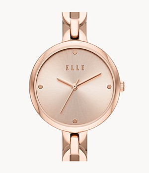 ELLE Wagram Three-Hand Rose Gold-Tone Stainless Steel Watch