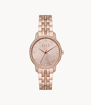 ELLE Iéna Three-Hand Rose Gold-Tone Stainless Steel Watch