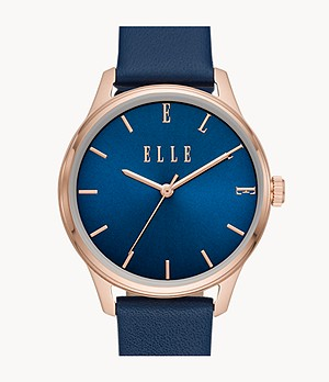 ELLE Monceau Three-Hand Blue Leather Watch