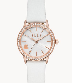 ELLE Alma Three-Hand White Leather Watch