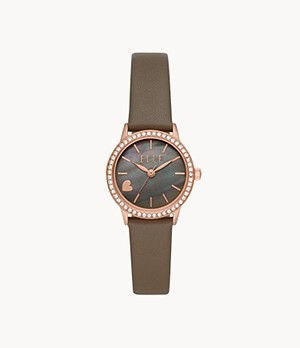 ELLE Alma Three-Hand Gray Leather Watch