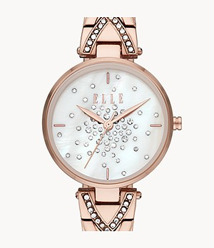 ELLE Grand Palais Three-Hand Rose Gold-Tone Stainless Steel Watch