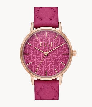 ELLE Montorgueil Three-Hand Pink Leather Watch