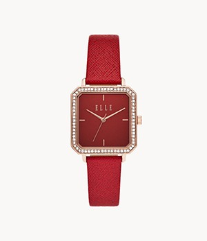 ELLE Clichy Three-Hand Red Leather Watch