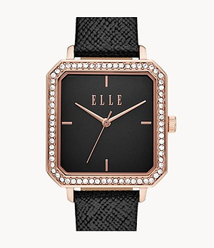 ELLE Clichy Three-Hand Black Leather Watch
