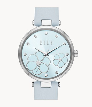 ELLE Orsay Three-Hand Blue Leather Watch