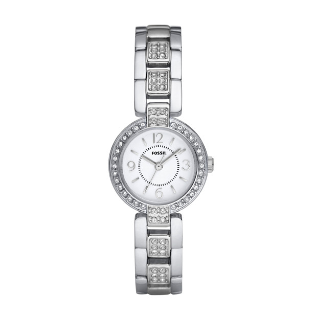 Evelyn Stainless Steel Watch - Silver-Tone with stones