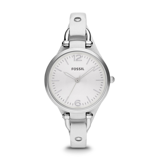 Georgia White Leather Watch