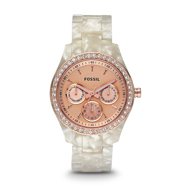 Stella Multifunction Pearlized White Resin Watch