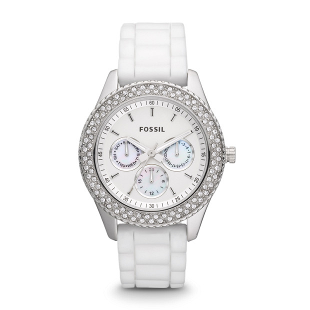 Stella Multifunction Silicone Watch - White