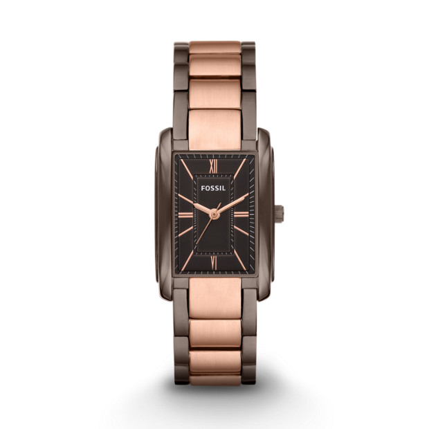 Adele Three Hand Stainless Steel Watch - Brown and Rose