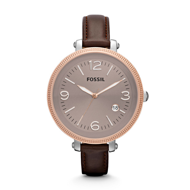 Heather Three Hand Leather Watch - Brown