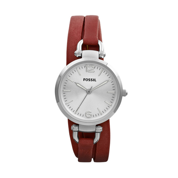 Georgia Three Hand Leather Watch – Brick Red