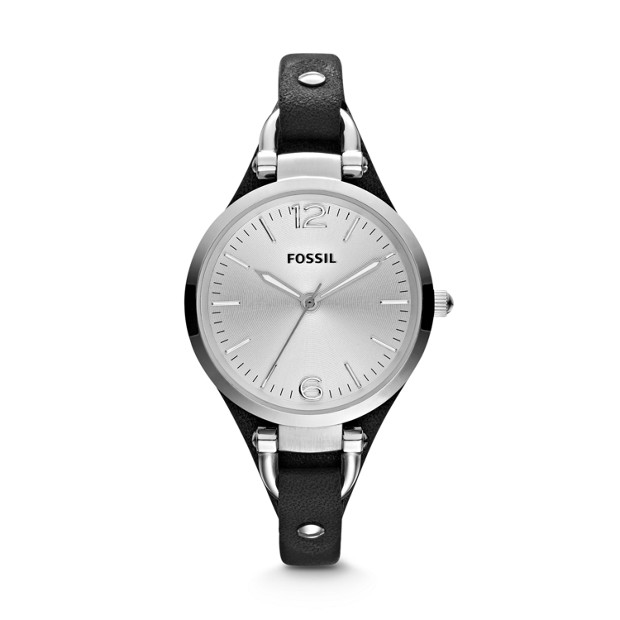Georgia Black Leather Watch