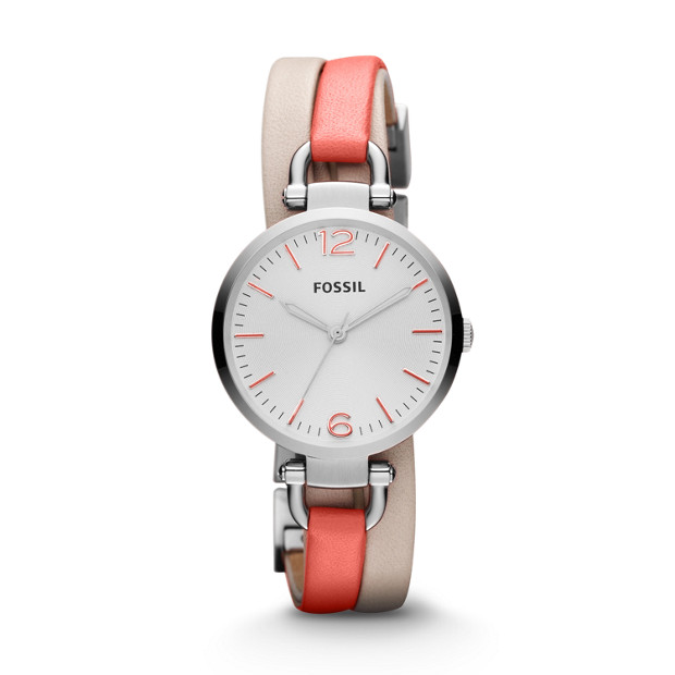 Georgia Three Hand Leather Watch – White and Coral