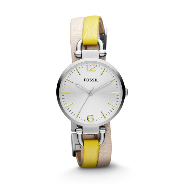 Georgia Leather Watch White and Yellow