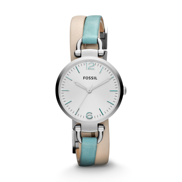 Georgia Three Hand Leather Watch – White and Teal